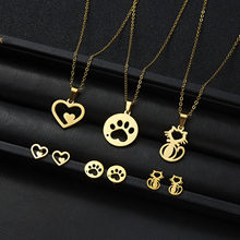 Rinhoo 1Set Gold Stainless Steel Hollow Heart Cat Dog Claw Pendant Necklace and Stud Earring For Women's Fashion Jewelry Gift(China)