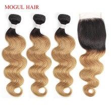 MOGUL HAIR T 1B 27 Ombre Honey Blonde Bundles with Closure Peruvian Body Wave Non Remy Human Hair 3/4 Bundles with Lace Closure стоимость