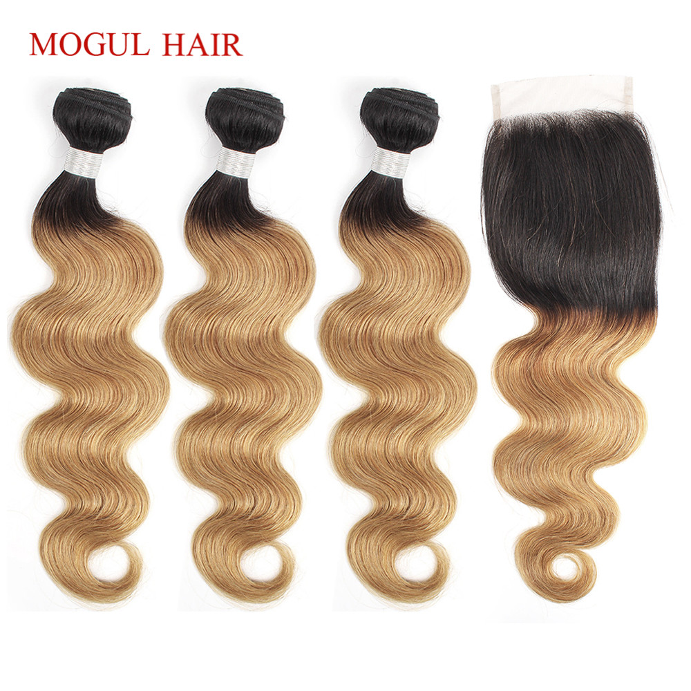 MOGUL HAIR T 1B 27 Ombre Honey Blonde Bundles With Closure Peruvian Body Wave Remy Human Hair 3/4 Bundles With Lace Closure
