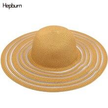 Hepburn brand beach big brim hat casual summer cap Fashion sun Cute children hats hand made women straw