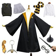 Kostium na Halloween dla dorosłych dzieci Hufflepuff żółty płaszcz z sukienką sweter koszula mundurek szkolny hermiona Granger ubrania imprezowe tanie tanio LanLoJer CN (pochodzenie) Film i TELEWIZJA Unisex Zestawy Halloween Costume Poliester Kostiumy