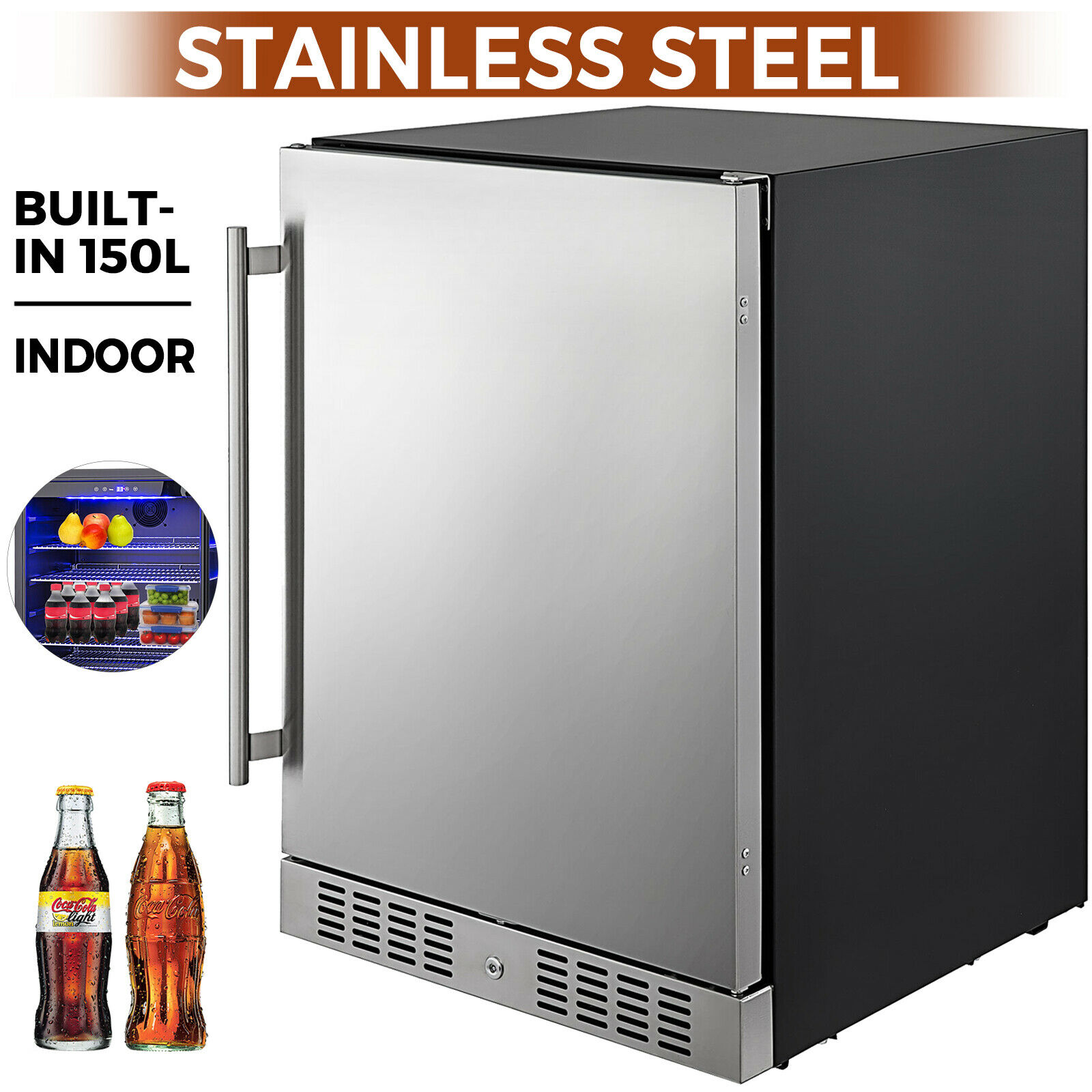 VEVOR небольшой холодильник сода и пива реверсивная дверь Нержавеющаясталь мини-холодильник с морозильной камерой для Офис коммерческого применения внутри помещений Применение 1