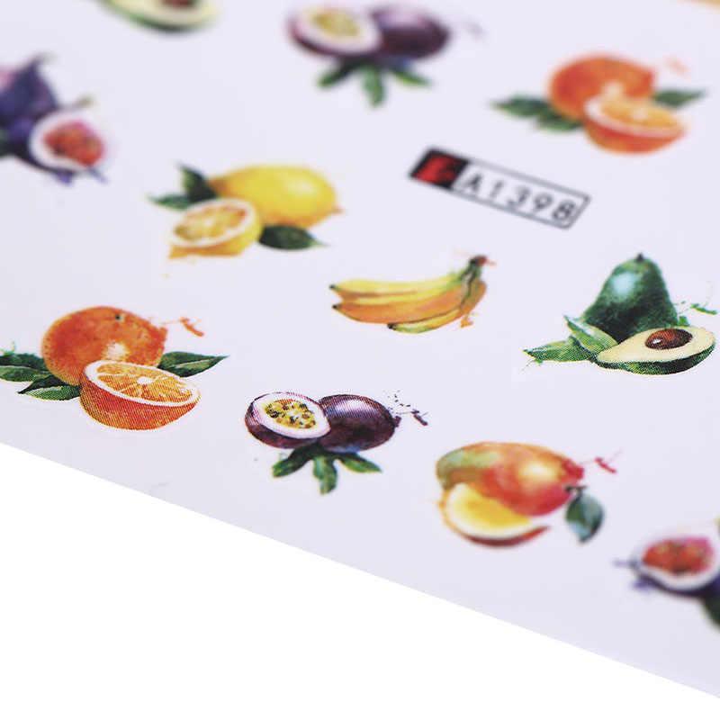 18 DIY dövme İpucu dekorasyon meyve kokteyli serisi karışık tasarım tırnak sanat çıkartmalar su transferi tam kapak etiket