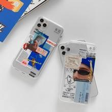 Vintage personalidad Etiqueta de billete de aire código de barras etiqueta de papel teléfono caso para iPhone 11 XS Pro MAX 7 8 XR X Clear soft Back Cover Capa