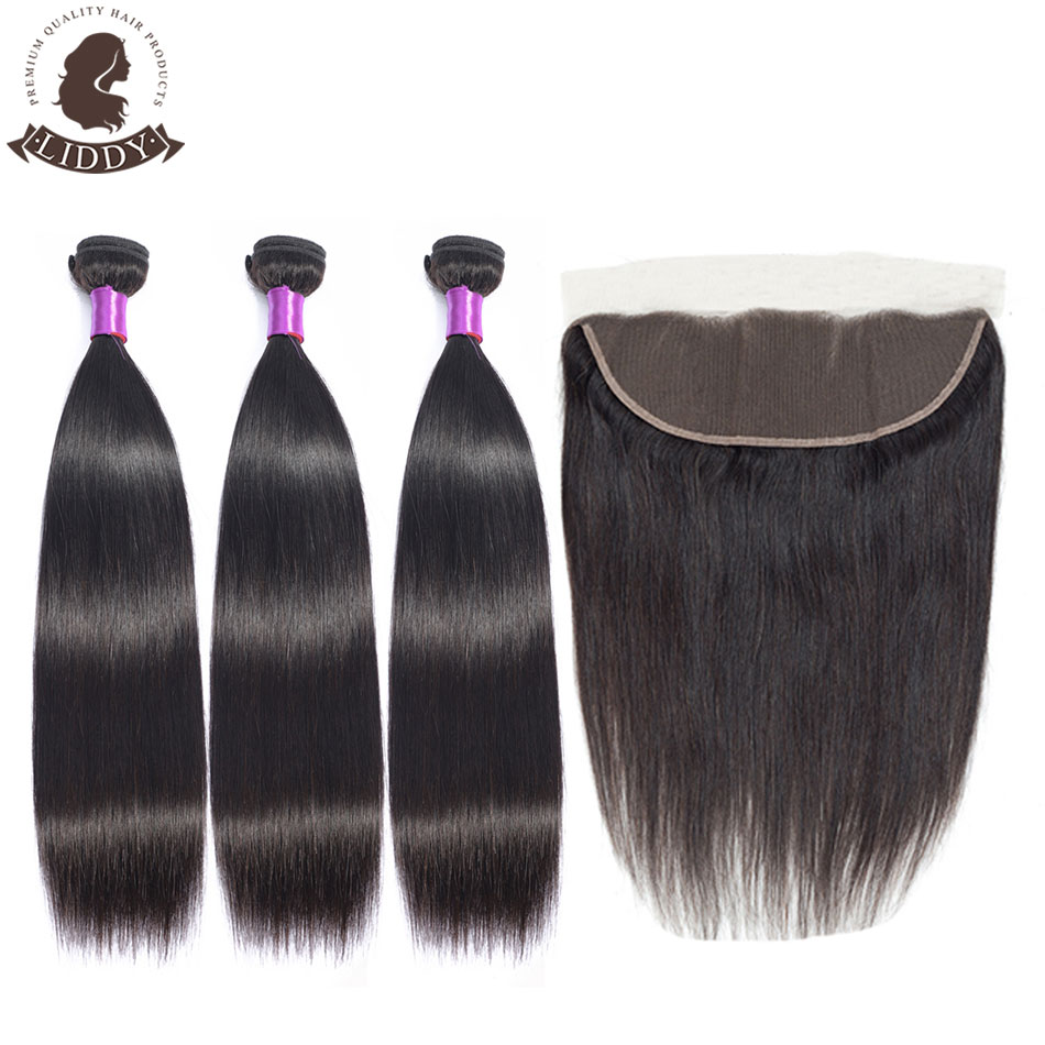 Liddy Straight Hair Bundles With Frontal 3 Bundles Peruvian 100% Human Hair 3 Bundles With Lace Frontal 13x4 Free Part Non Remy