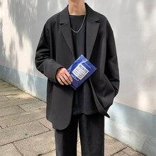 2019 봄과 가을 새로운 청소년 인기있는 남성 패션 캐주얼 셔츠 한국어 버전 Ins Wind Wild Suit Jacket Tide Black / Khaki