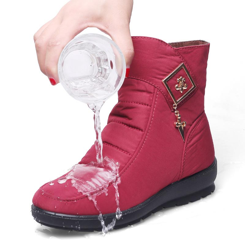 Winter Shoes Women Boots 2019 Solid Zipper Snow Boots Women Shoes Warm Plush Wedges Shoes Woman Ankle Boots Female Botas Mujer