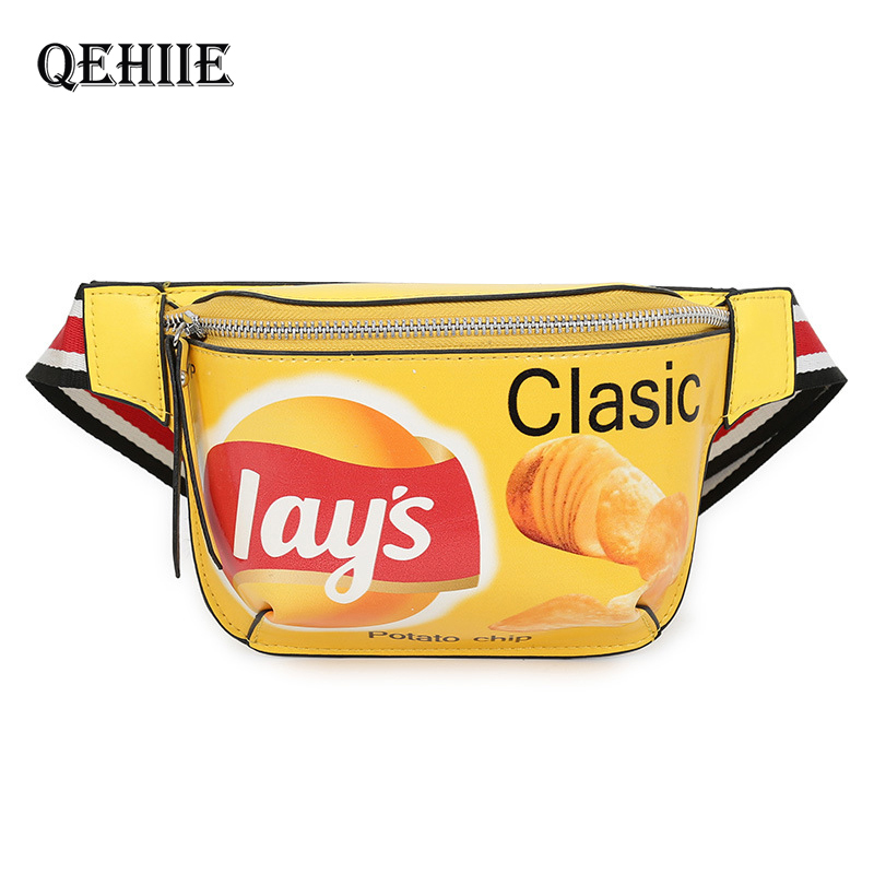 The New Fanny Pack For Women PU Waist Bags For Kids Hip Hop Potato Chips Banana Bag Women Chest Bag Graffiti Printed Kidney Bags