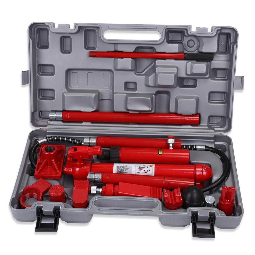 10 Ton Hydraulic Jack Tools Set Power Car Van Jack Body Frame Repair Tools Kit Red 2019 New