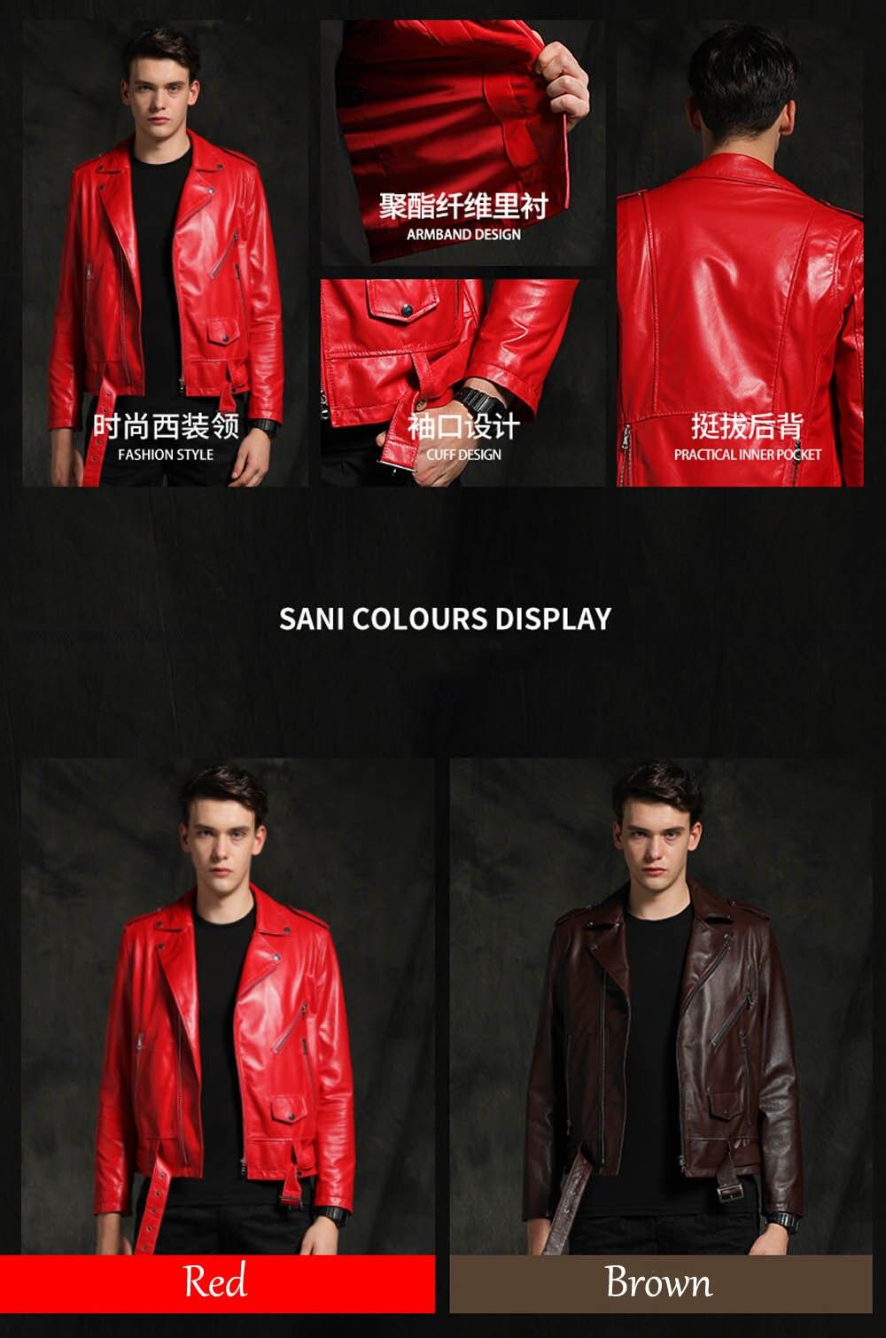 Nova moda jaqueta vermelha de couro de