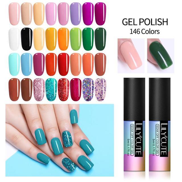 LILYCUTE 5ML Gel Paint UV Nail Gel Soak Off Nail Art Led Nail Lacquer Glitter Painting Gel Nail Art Permanant Soak Off UV Gel
