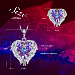 Image 4 - Cdyle Angel Wings Heart Shaped Necklace Earrings Set Wedding Bridal Women Jewelry Set with Top Quality Crystal 4 Color Available