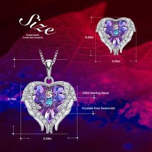 Image 4 - Cdyle Engelenvleugels Hartvormige Ketting Oorbellen Set Wedding Bridal Vrouwen Sieraden Set Met Top Kwaliteit Crystal 4 Kleur Beschikbaar