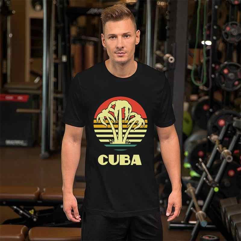 Graphique Cuba rétro palmiers t-shirt XXXL 4Xl 68XL Comical Modal été mâle femme t-shirt t-shirt