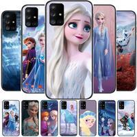 Bevroren Meisje Disney Telefoon Case Romp Voor Samsung Galaxy A50 A51 A71 A70 A52 A40 A30 A31 A80 A20E 5G S Zwart Shell Art Mobiele Cove
