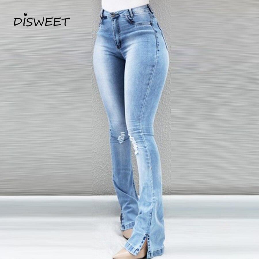 Hole Stylish Boot Cut Pant Women Concise High Waist Pocket Tight Trousers Ladies Stylish Split Slim Plus Size Jeans Female Blue