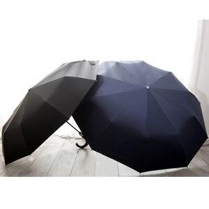 Image 5 - PALONY yeni varış otomatik erkekler şemsiye üç kat ahşap saplı siyah kaplama güneş katlanır şemsiyeler 10K rüzgar geçirmez