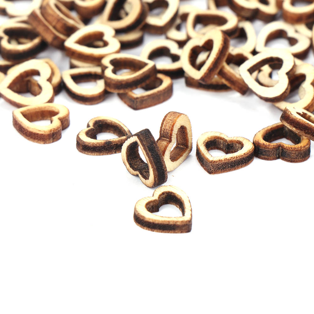 100pcs/pack New Hollow Love Heart Wooden DIY Laser Cut Embellishment Craft Decor Ornaments Wedding Decoration
