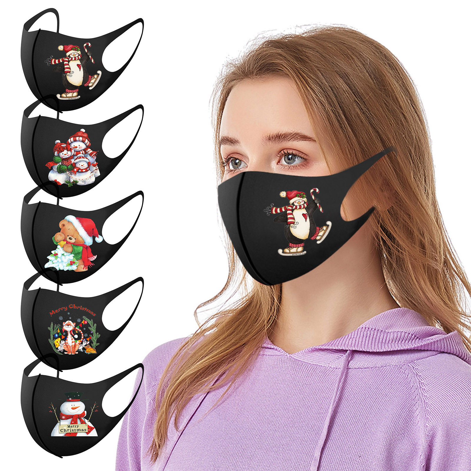 1PC Christmas Adult Reusable Mouth Mask for Protection Breathable Washable Windproof Earloop Face Cover Outdoor Mascarillas