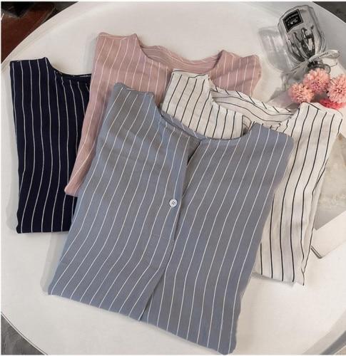 2019 Summer  Women Casual Stripe Shirt Ladies Loose Plus Size 4XL Tops Blouse Sweet Half Sleeve Button Shirts Street Wear