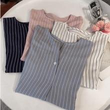 2019 Summer Women Casual Stripe Shirt Ladies Loose Plus Size