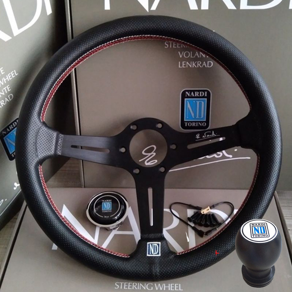 Universal 14 pulgadas ND cuero Auto Racing volantes + perilla de cambio Deep Corn Drifting Sport volante con Logo