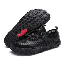 شبكة تنفس أكوا أحذية السباحة أحذية ماء الرجال حذاء مسطح في الهواء الطلق شاطئ البحر أصابع أحذية رياضية الذكور المنبع حذاء للسير مسافات طويلة