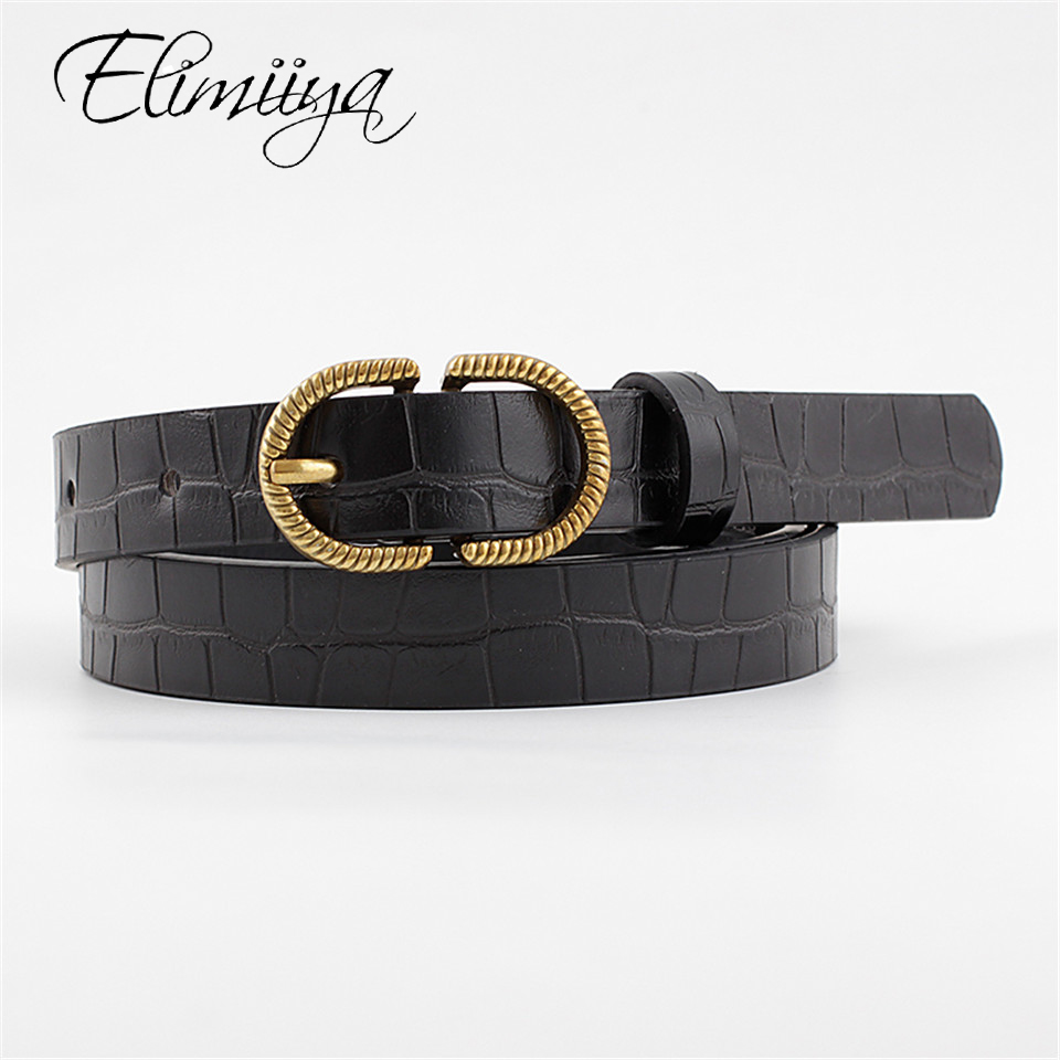 Elimiiya NEW Fashion Punk Waist Belt Women Black And White Belts Plaid Metal Buckle Strap Jeans Dress ремень для брюк женский