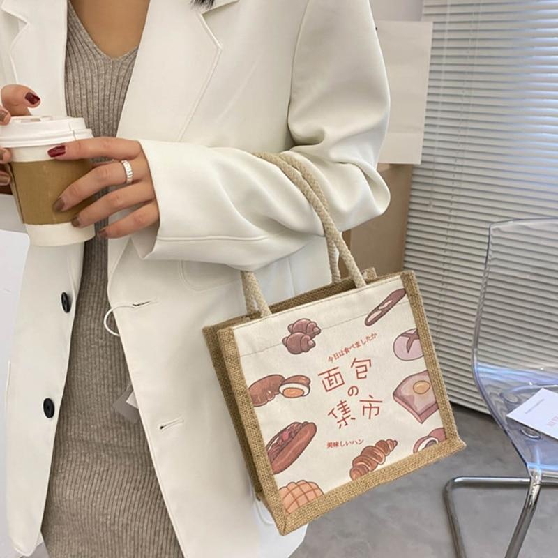 Moda unisex impresso sacola de compras multiuso