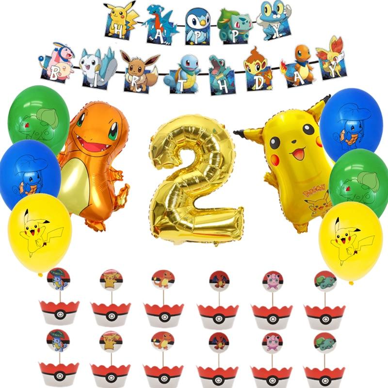 Покемон День рождения поставки с забавным рисунком Пикачу воздушные шары баннеры торт Топпер флаги для украшения Baby Shower шар подарок для взр...