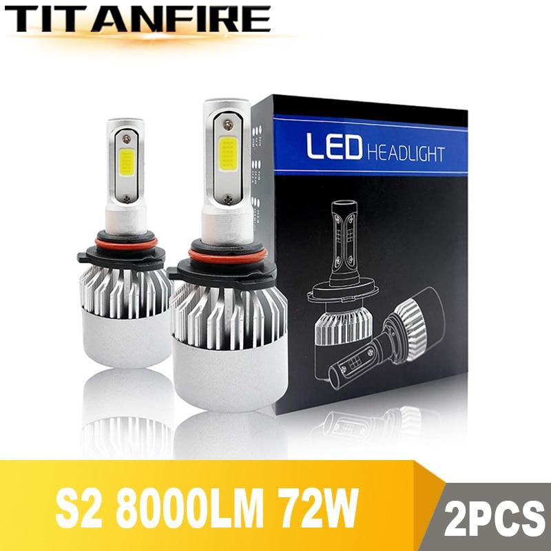 TF30 2X S2 LED Headlights Bulbs Conversion Kit Lights H1 H3 H4 H7 H8 H11 HB3 HB4 Auto COB Car Headlight 72W 8000LM  6500K