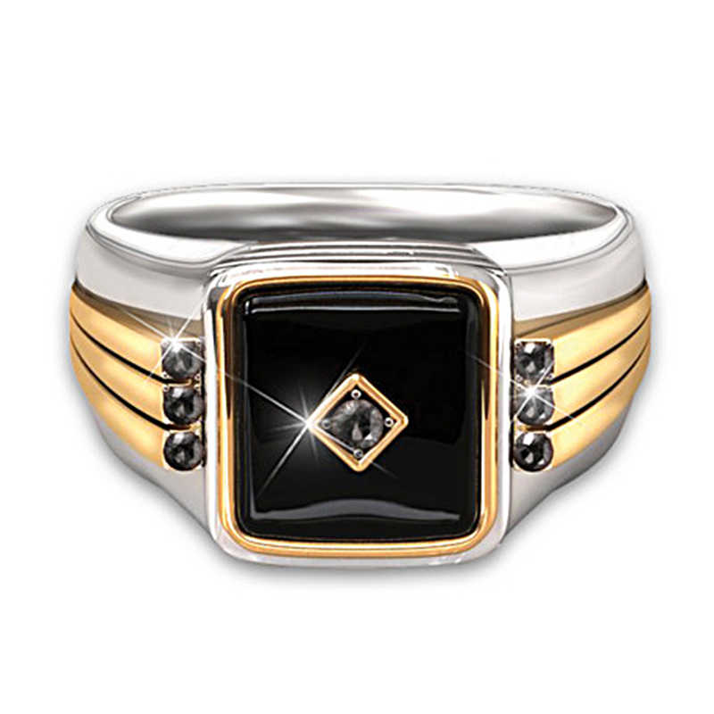 Gothic 2-TONE Signet Mens แหวนสีดำคลาสสิกบิ๊กเรซิ่นหินแกะสลักชายแหวนโชคดีเครื่องประดับ z5M458