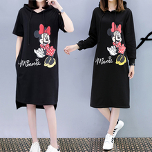 2019 Women Mickey Mous Minnie Summer Dresses Fashion Loose Casual Black Autumn Plus Size Hooded Dress M-4XL With Pocket