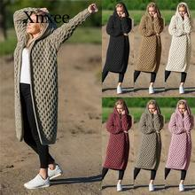 Women Knitted Cardigan Winter Thick Warm Hooded Long Cardigan Female Long Sleeve Vintage Sweater Outwear Plus Size Coats 5xl new arrival sweater plus size s 5xl women fashion tops thick knitted sweaters cardigan coat long sleeve winter warm hooded cloak