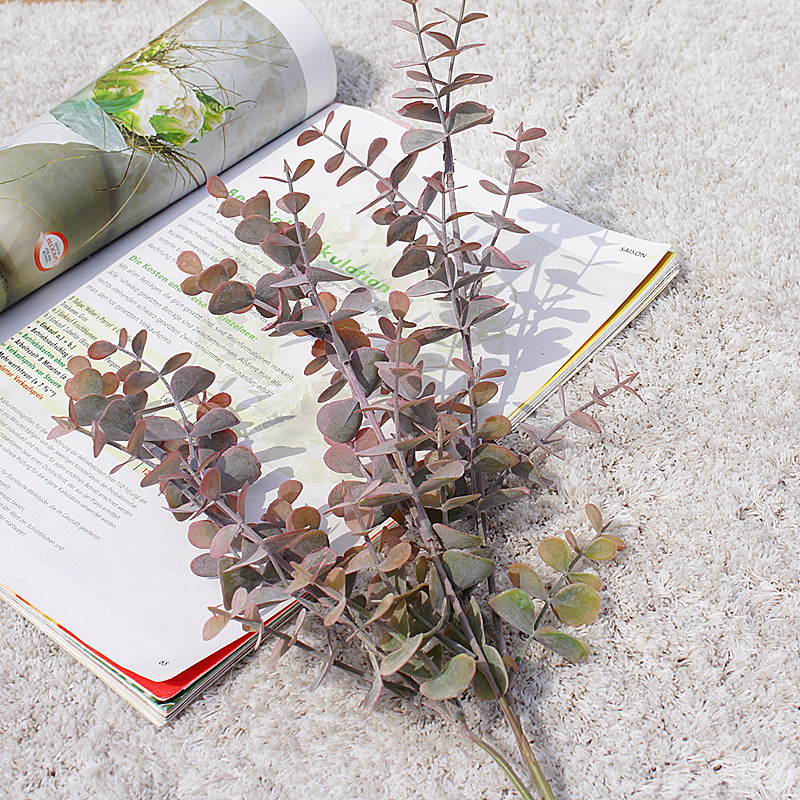 Long Branch 3 Fork Eucalyptus Ornamental Flowerpot Artificial Plants Decorative Flowers Fake Leaf Scrapbookvases For Home Decor
