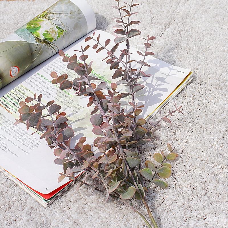 Long Branch 3 Fork Eucalyptus Ornamental Flowerpot Artificial Plants Decorative Flowers Fake Leaf Scrapbookvases For Home Decor