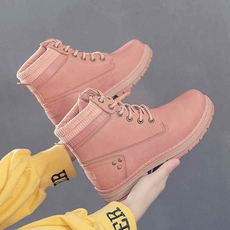Sneakers Nữ Ủng 2020 Mới Giày Người Phụ Nữ Thu Đông Cổ Chân Giày Cho Nữ Cột Dây Nữ boot