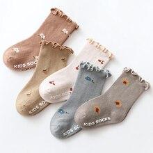 0-5 Years Toddlers Girls Frilly Socks Soft Cotton Baby Ankle Sock Flower Pattern Children Socks Anti Slip Infant Floor Sock