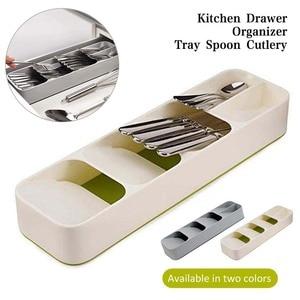 Kitchen Drawer Organizer Plastic Tray Knives Fork Spoons Storage Rack Kitchen Utensils Storage Tools Cutlery Organizer