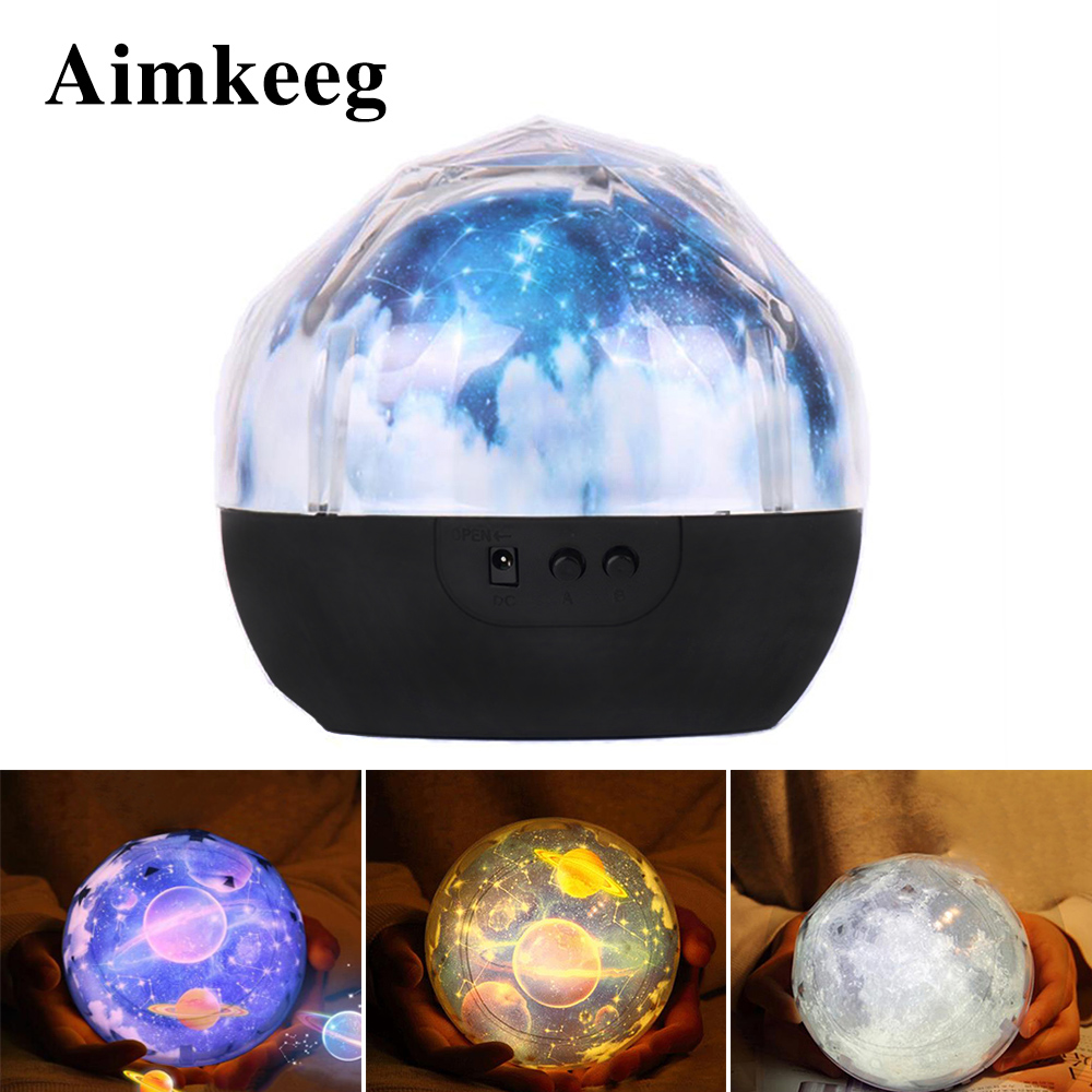 Aimkeeg Colorful Magic Diamonds Projection Rotating Lamp Universe LED Night Light  Starry Sky Magic Star Light For Birthday Gift