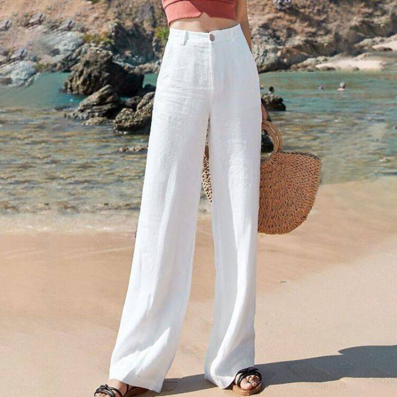 Pants Women High Waist Straight Loose Casual Trausers New 2020 Summer Fashion Solid Color Cotton Linen Long Pants Woman P453