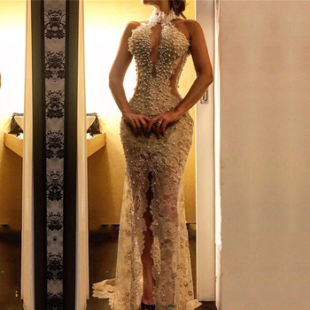Eightale Pearls Evening Dress High Neck Beaded Lace Mermaid Prom Gown Appliques See Through Sexy Front Split Party Dresses 2020