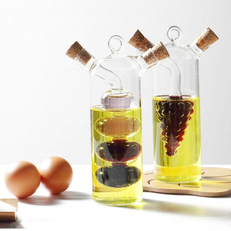 Саксии с масло против течове Стъклени бутилки с подправки запечатани сос Бутилка с оцет, кухненски инструменти Аксесоари Бутилки с маслен оцет сос