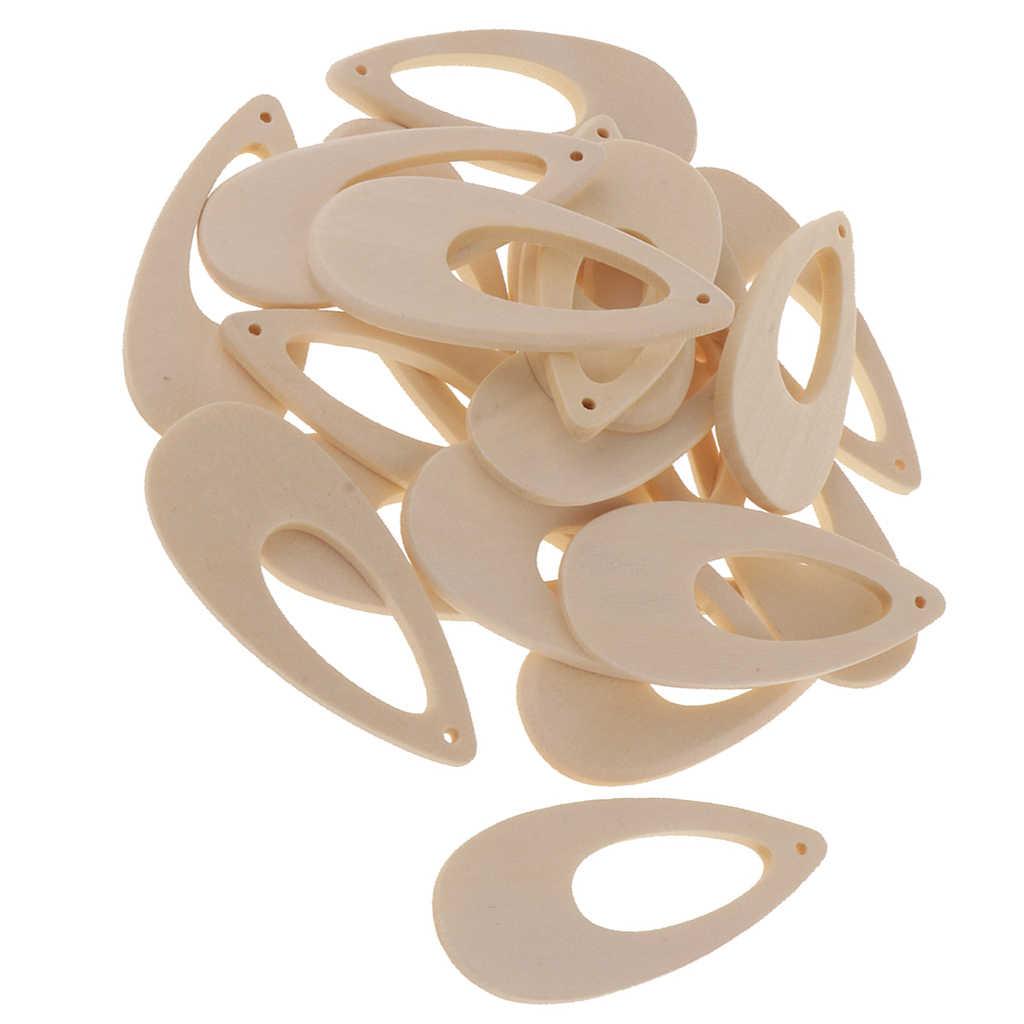 20pcs Naturale Incompiuta In Bianco Di Legno Woterdrop Pendenti con gemme e perle Con Foro A Goccia Pendenti e Ciondoli