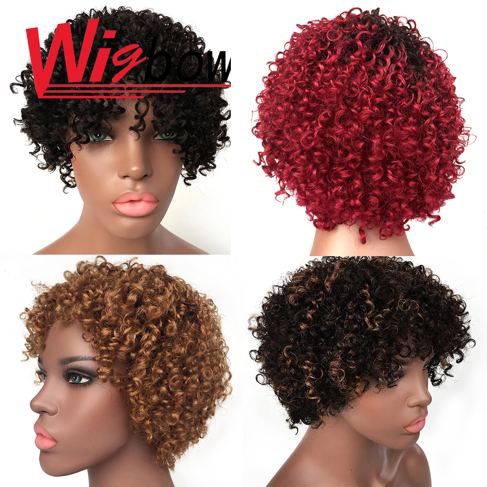 Human Hair Short Curly Wigs  Afro Kinky Curly Remy Ombre Human Hair Wig Brazilian Machine Made For Black Women