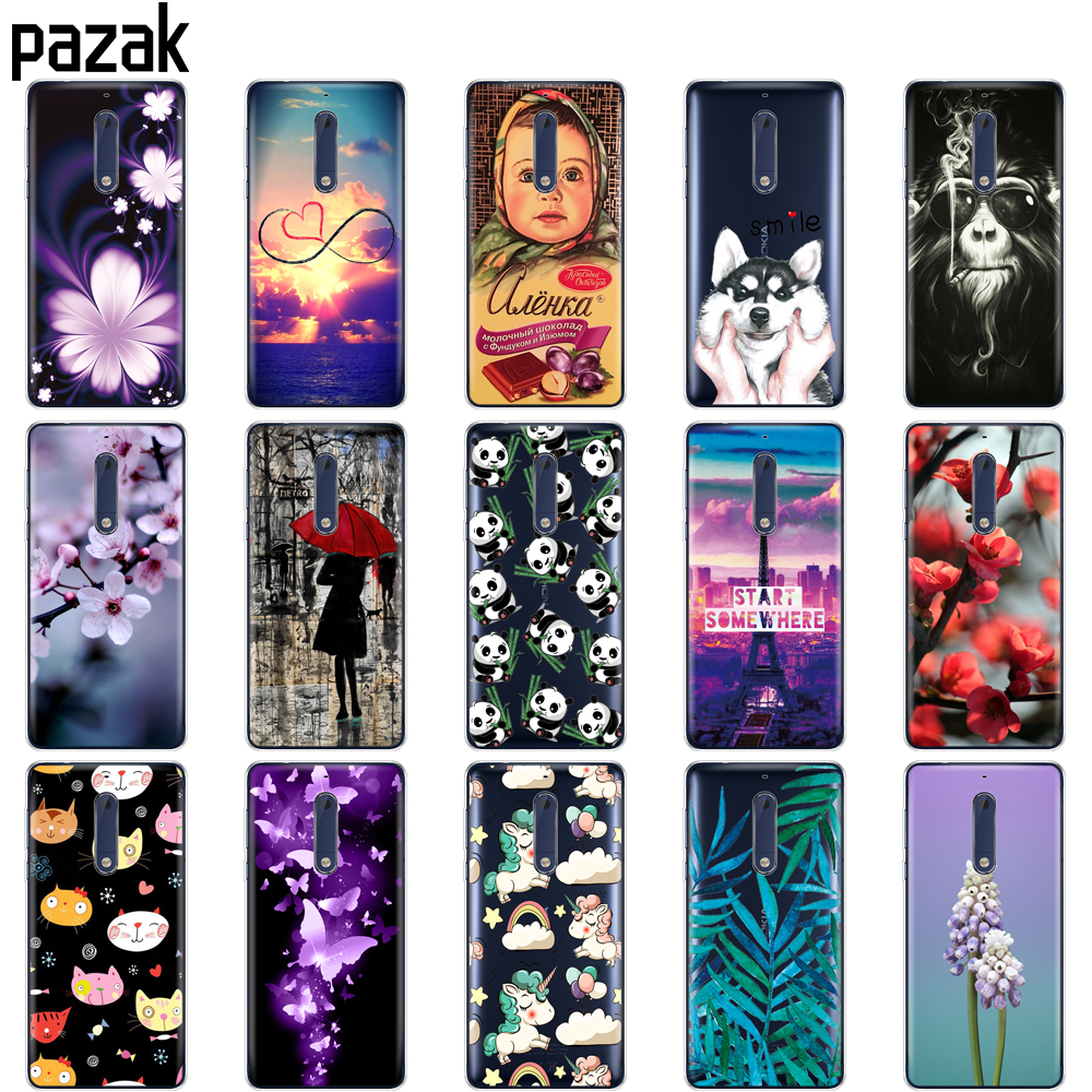 Silicon <font><b>case</b></font> for <font><b>Nokia</b></font> 1 2 2.1 3 3.1 <font><b>5</b></font> <font><b>5</b></font>.1 plus 2018 <font><b>case</b></font> soft tpu back phone cover shockproof printing Coque bumper housing image