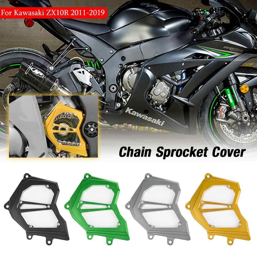 VI Motorcycle Chain Guard Cover Chrome Case For 2004 2005 Kawasaki ZX 10R