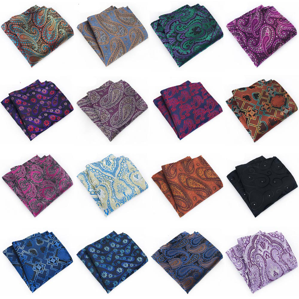 Mens Handkerchief Paisley Floral Hanky Wedding Party Pocket Square Multi Colors