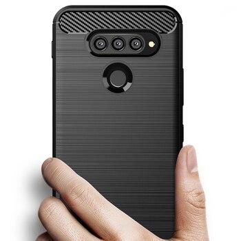Перейти на Алиэкспресс и купить Для LG K50s Q70 G8X V50s V40 V35 V30S V50 Plus чехол thinq чехол из углеродного волокна Полная защита чехол для телефона противоударный бампер