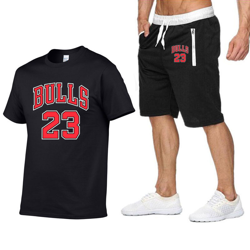 2020 Summer Brand BULLS 23 T Shirt Men's Casual Short-sleeved T-shirt+Shorts Set Fashion Sports Fitness Harajuku Hip Hop T-shirt